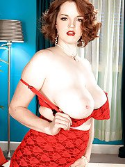 Horny plumper Bebe Cooper stripping from red gartered lingerie and shows big tits