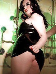 Hot bbw in latex dress Emily Cartwright stripping and toying in the bathroom