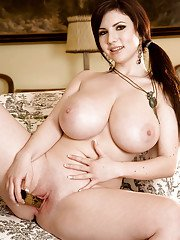 Karina Hart revealing chubby tits and inserting toy in her shaved twat