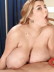 Pregnant fatty in white underwear eating for two and fucking for one