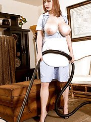 Plump maid in uniform Christy Marks stripping and exposing soft boobs
