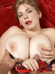 Lovesome bbw Christy Marks denudes massive tits to tease erected dong