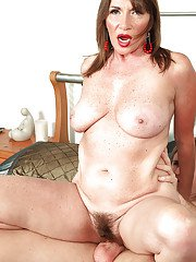 Heated mature Josette Lynn pleasing long dick with her hairy pussy and puffy tits