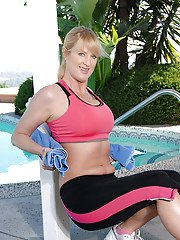 Busty mom Bethany Sweet working out outdoor and denudes her firm ass and boobies