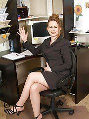 Classy office MILF fatty slowly strips at her workplace.