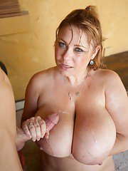 Huge BBW mommy getting her pussy probed with a long shaft