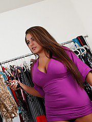 Busty Latin fatty Penelope Piper fucking in a clothes shop