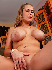 Slutty wife Alanah Rae strips from blue lingerie and pinching melons