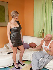 Busty blond wife Kasey Grant having hard core sex on the white couch