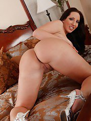 Brunette wife Kelly Divine showing off fat boobs and big ass
