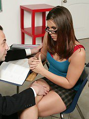Naughty college girl in glasses Izy-Bella Blu banged by her teacher