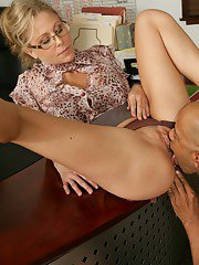 Mature teacher in glasses Julia Ann taking black cock in her tight cunt