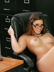Stunning coed in glasses Izy-Bella Blu stripping from red underwear