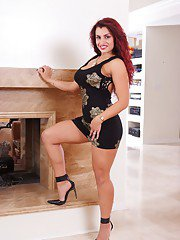 Hot latin babe Tiffany Torres posing upskirt and fingering her pussy