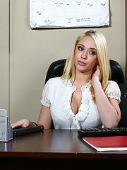 Exquisite busty blondes getting involved in fiery office gangbang
