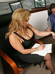 Big titted MILF Shyla Stylez stripped to stockings and shafted hard