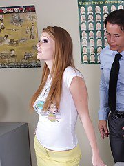 Sexy college redhead Faye Reagan laid on the desk and shafted hard