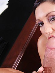 MILF teacher Dylan Ryder denudes her hot hooters and blowing cock