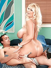Busty bbw blonde Kelly Christiansen stripping nude and mounting dick