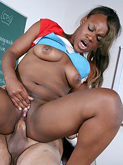 Plump college babe Megan Pryce gets her black pussy shafted in the class