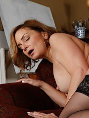 Mature babe Rebecca Bardoux stripped to stockings and banged