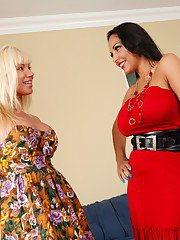 Blond and brune MILF lesbians licking big tits and toying wet slits