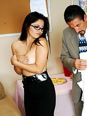 Latin MILF Evie Delatosso strips puffy juggs and fucks in the office