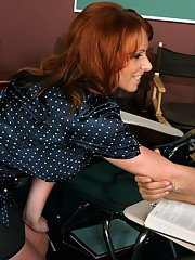 Redheaded MILF teacher Kylie Ireland takes a huge cock in her hot pussy