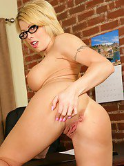 Stunning MILF teacher in glasses Brooke Haven stretching ass and pussy