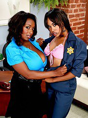 Black babes Panther and Vivicia Coxx showing off big tits and fat butts
