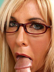 Mature teacher in glasses Misty Vonage gets her boobs licked and fucked