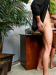 Mature ebony teacher Panther and Vivica Coxx banging a well hung stud