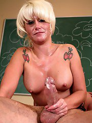 Mature sex teacher in glasses Summer Storm banged and facialized