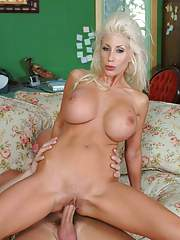 Exquisite MILF with round tits Puma Swede taking cock in shaved pussy