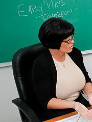 Mature teacher in glasses and nylon stockings Shay Fox fucked in class