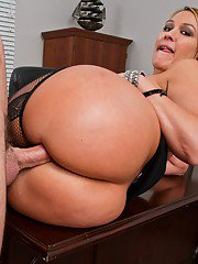 Mature office boss in stockings Mellanie Monroe drilled and jizzed