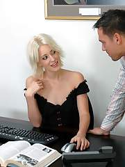 Blond cocksucker with tiny tits Kimberley Kane fucks in the office