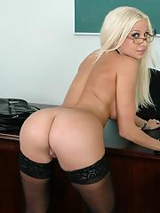 Blond MILF teacher Gina Lynn stripping and posing in stockings and heels