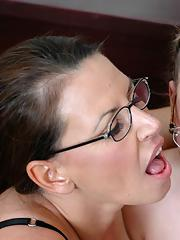 Heated teacher in stockings and sexy coed in glasses fucking hard dick