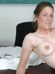 Sexy mature teacher bent over her desk and fucked from behind