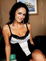 Sultry mature brunette Lake Russell strips from a nice dress and poses
