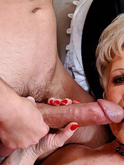 Lustful granny Mrs. Jewell brings out puffy juggs and enjoys fucking