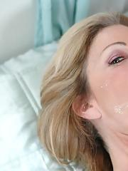 Blond mom with huge tits Lexi Carrington bent over and penetrated