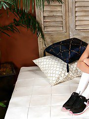 Brunette wife in knee high socks Stephanie Cane strips and poses