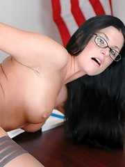 MILF teacher in glasses India Summer got her hot pussy drilled in class