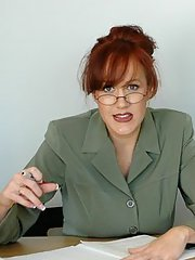 Mature teacher in glasses Bailey Odare strips to stockings and fucks