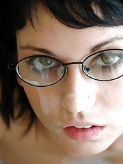Cute coed in glasses Riley Evans gets her shaved pussy stretched