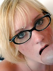 Blond coed in glasses Bailey Brooks denudes tiny tits and fucks