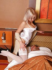 Busty maid Mandy Dee fucking in sexy white lingerie and stockings