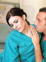 Hot babe in surgeon uniform Andy San Dimas stripped and fucked